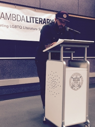 Cooper Lee Bombardier reading at University of Southern California/ Lambda 2016. Photo by Azure D. Osborne­-Lee