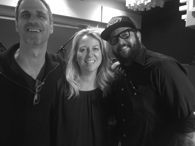 Steve Almond, Cheryl Strayed, and Cooper Lee Bombardier in the recording studio, Portland, OR.