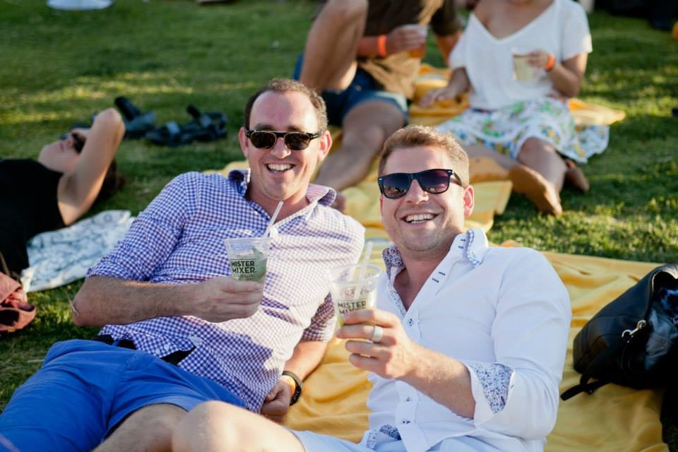 Product testing at Open Air Cinemas - Valjean, our Managing Director ( R ) with mate Simon