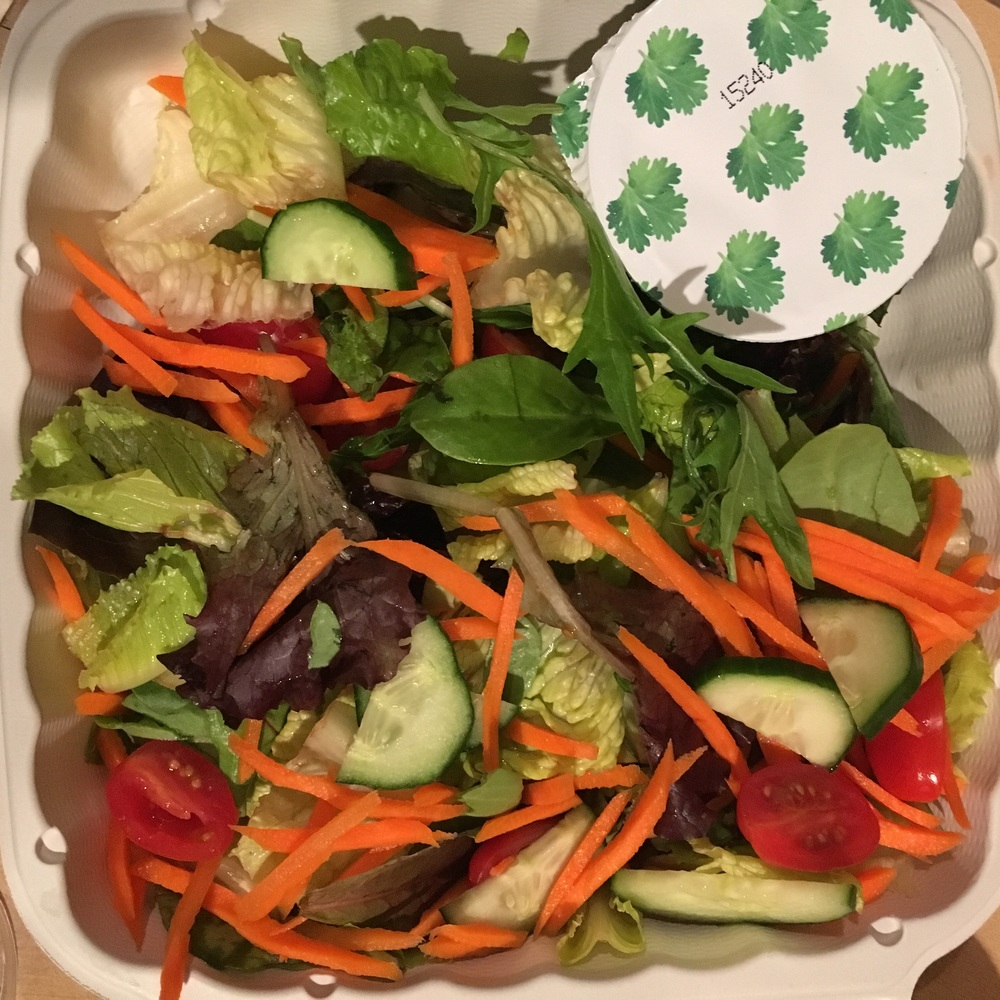 Carrots , cukes , toms, and romaine crunch with an orange-parsley almond dressing!