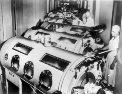 Photo of children in iron lungs. Photo courtesy of the National Museum of Health and Medicine.