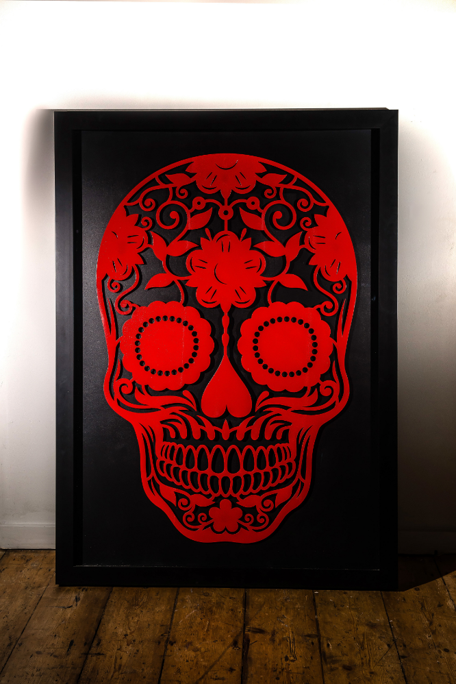 Laser Cut Steel 'Day of the Dead' Skull