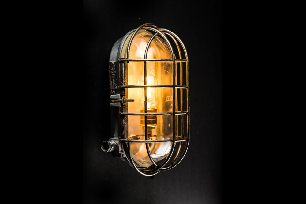 Large Vintage Bulkhead Wall Light
