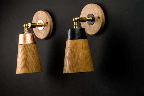 Hand Turned Oak Wall Light