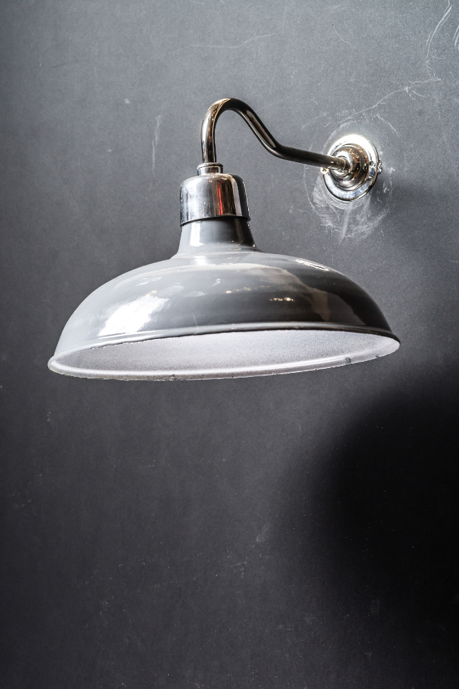 Grey Enamel Swan Neck Wall Light