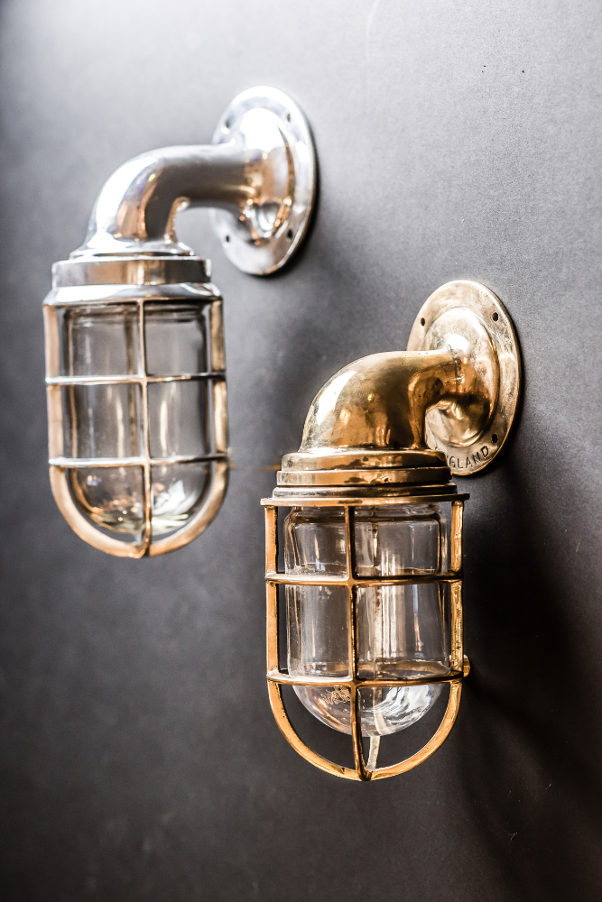 Brass and Aluminium Ship Passageway Wall Lights