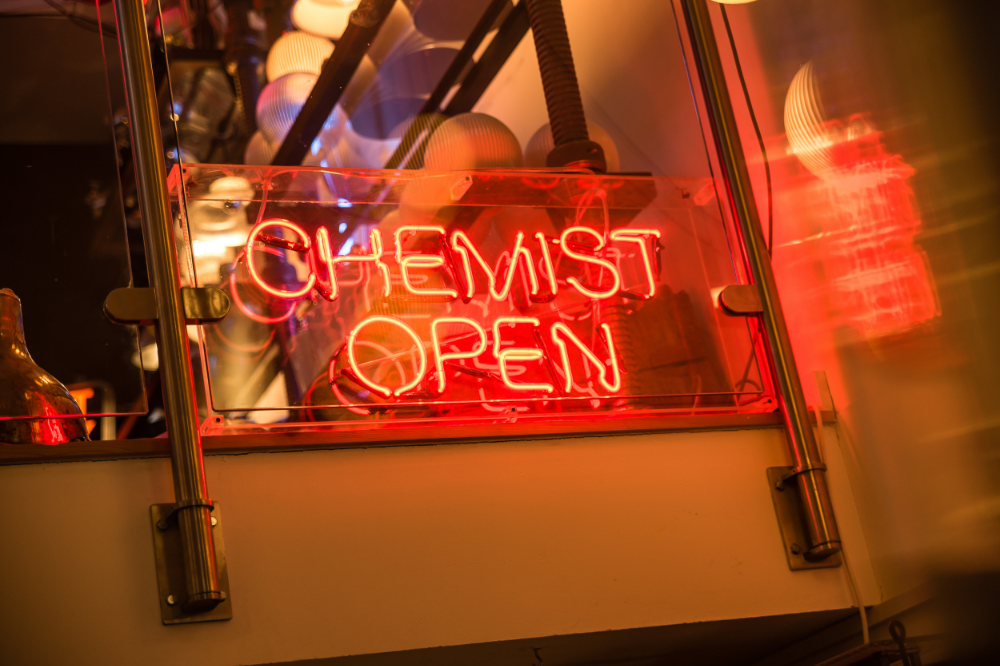 1960's Neon Chemist Open Sign