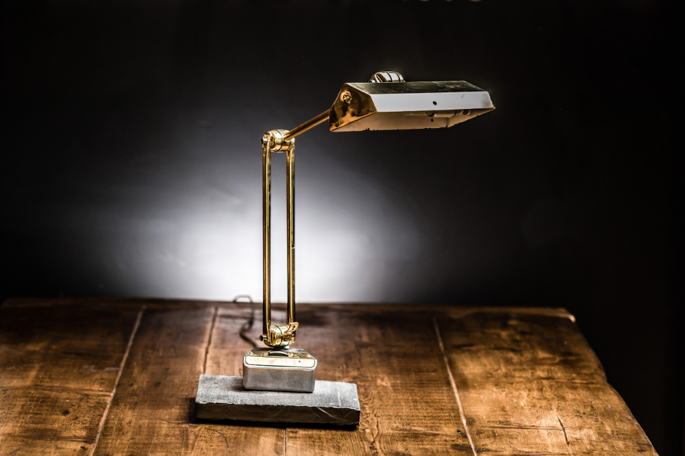 Brass Desk Lamp on Slate Base