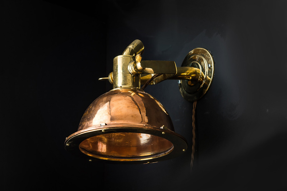 Russian Cargo Ship Copper and Brass Wall Light