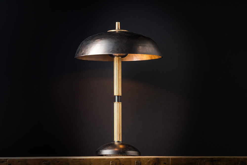 Handmade Blackened Steel and Brass Table Lamp