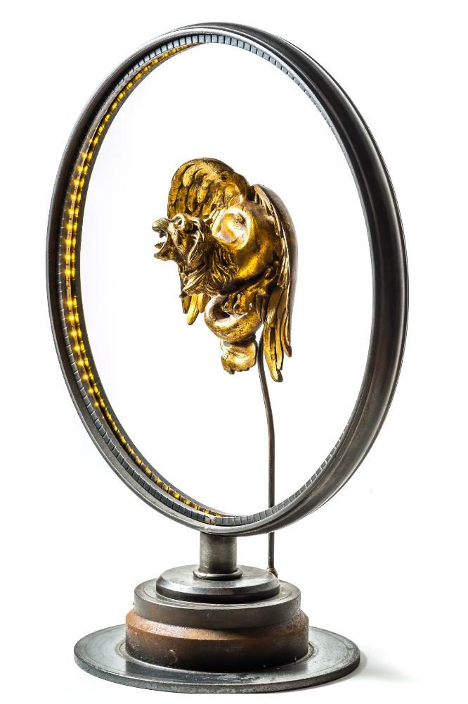 Antique Brass Griffin Converted LED Desk Lamp