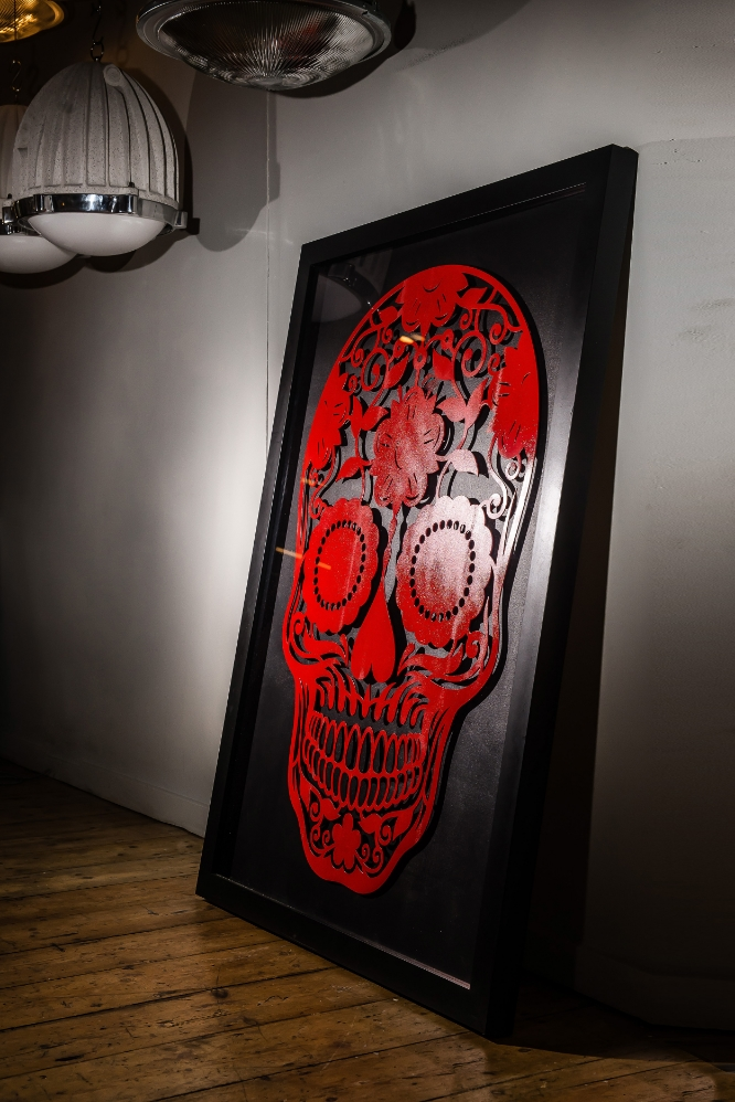 Laser Cut Steel 'Day of the Dead' Skull 01.jpg