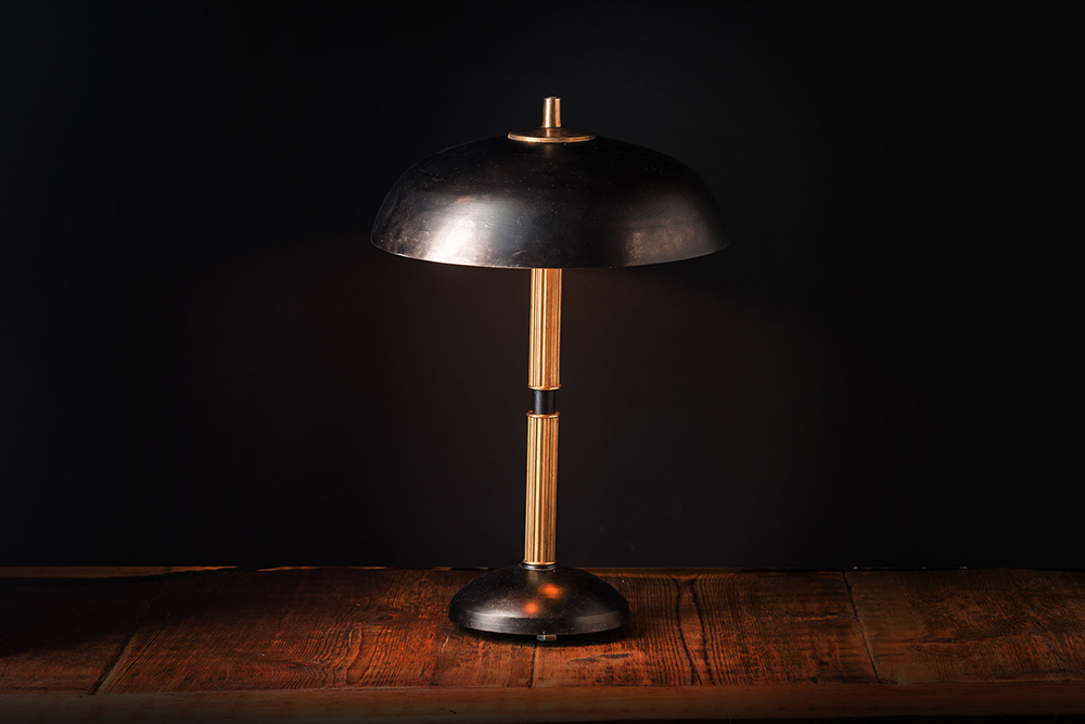 Handmade Blackened Steel and Brass Table Lamp 04.jpg