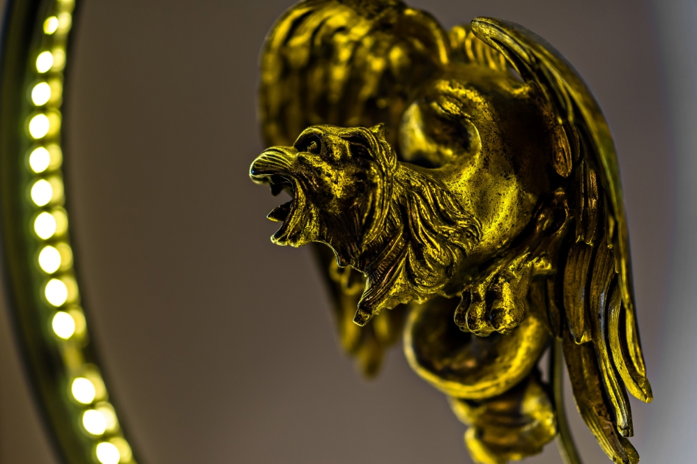 Antique Brass Griffin Converted LED Desk Lamp 02.jpg