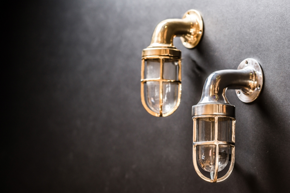 Brass and Aluminium Ship Passageway Wall Lights 02.jpg