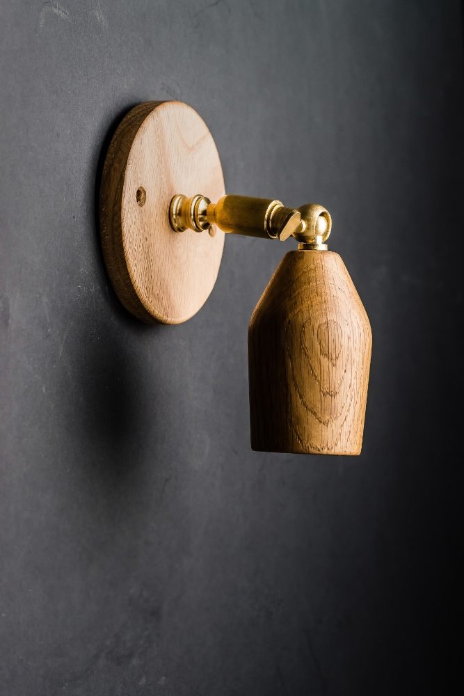 Hand Turned Short Armed Oak Wall Light 03.jpg