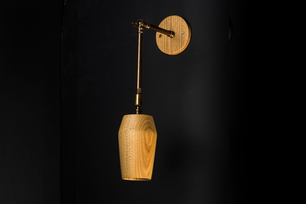 Hand Turned Long Armed Oak Wall Light 04.jpg