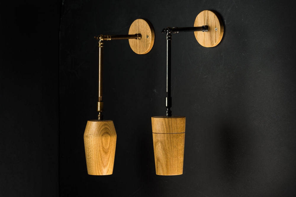 Hand Turned Long Armed Oak Wall Light 01.jpg