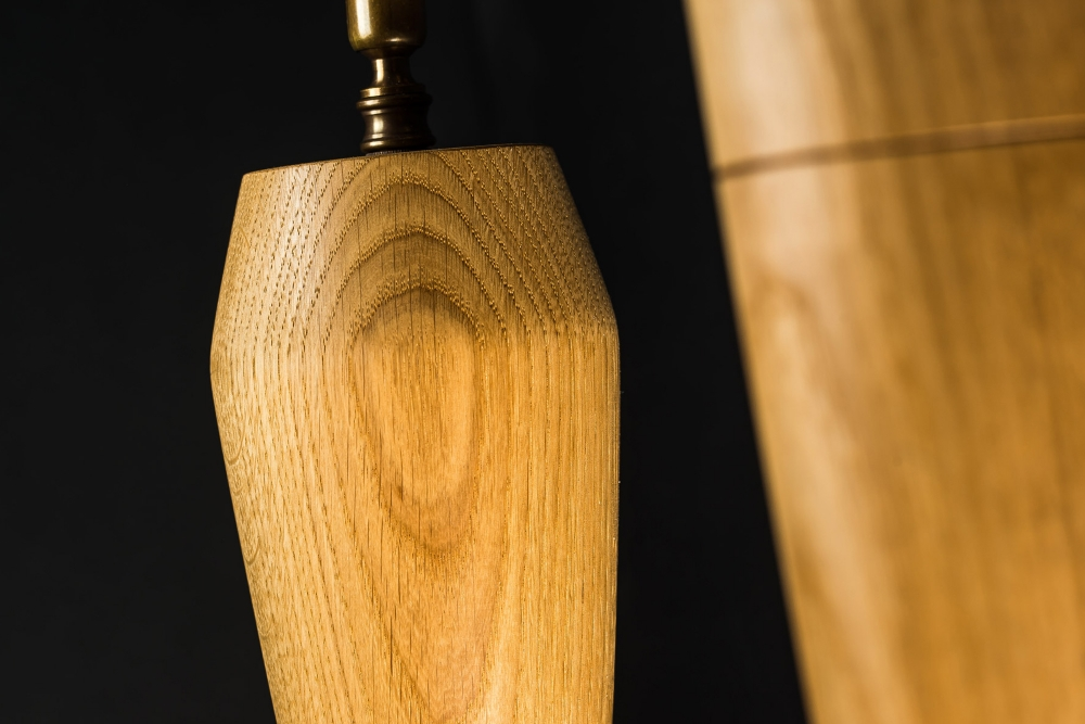 Hand Turned Long Armed Oak Wall Light 05.jpg