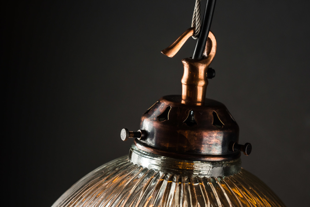 Planished copper and holophane glass pendant 07.jpg