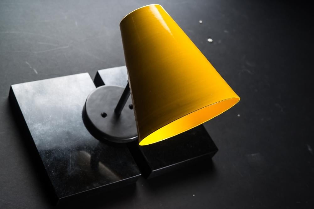 Armed enamelled conic wall lamp.jpg