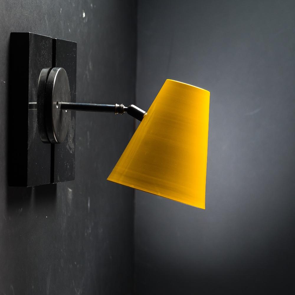 Armed enamelled conic wall lamp 02.jpg