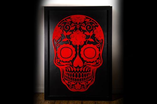day of the dead steel skull framed.jpg