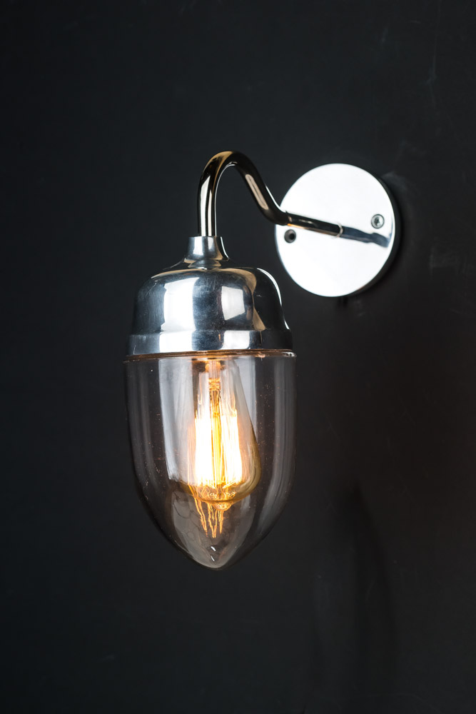 Polished Aluminium Teardrop Swan Neck Wall Light