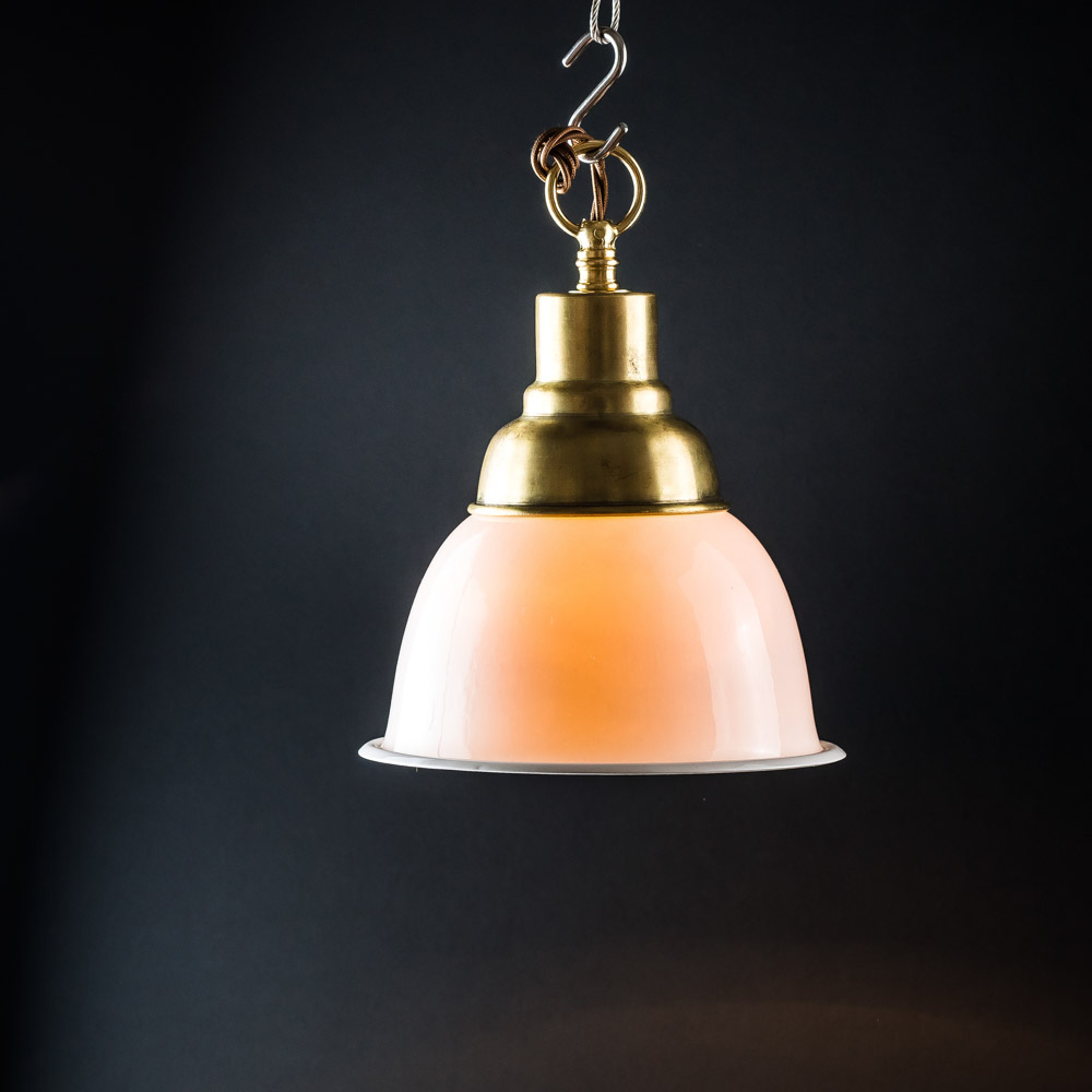 Vintage Brass and Bone China Pendant