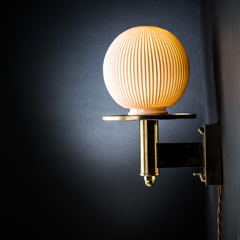 Bone China and Brass Sconce Wall Light