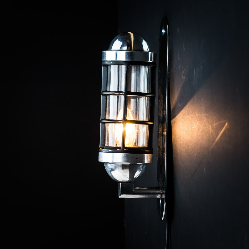 Aluminium Caged Capsule Wall Light