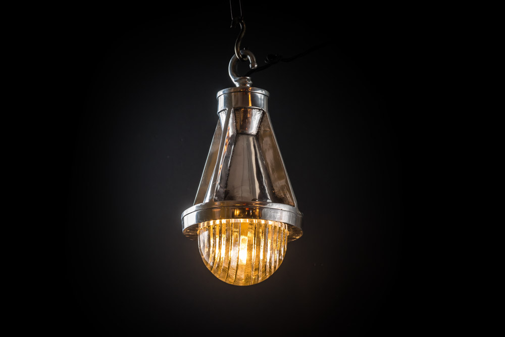 Cast Steel and Fresnel Glass Pendant