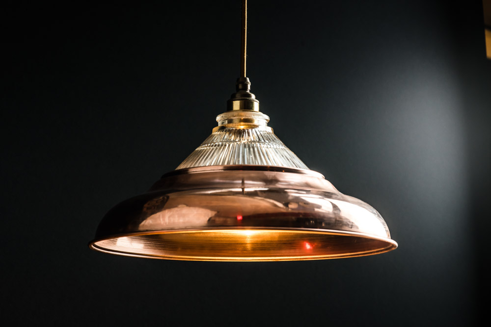Felix Original Holophane Glass Pendant with Raw Copper, Brass or Steel