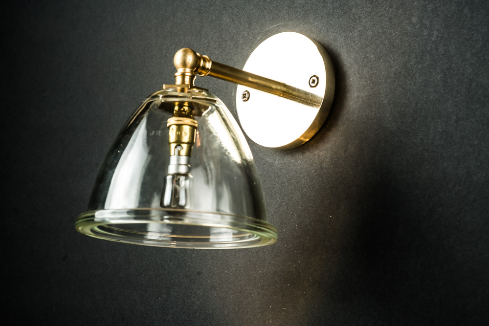 Vintage Pylon Glass and Brass Wall Light