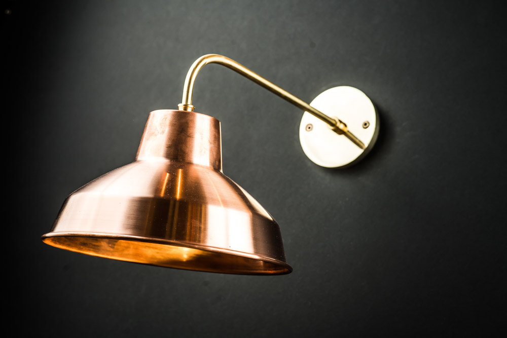 Spun Copper and Solid Brass Wall Light