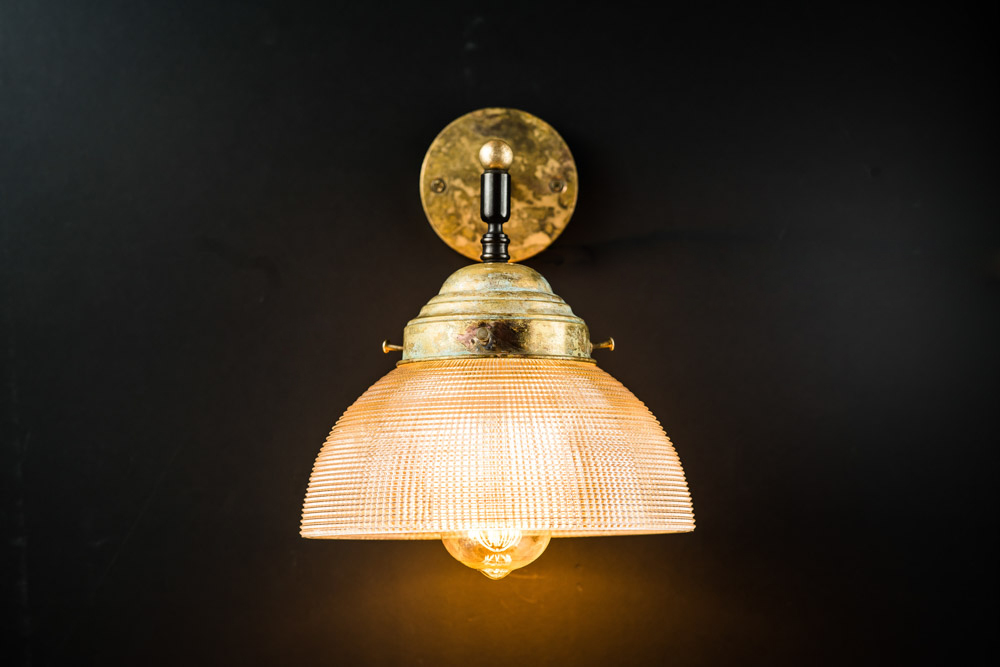 Vintage Large Holophane and Aged Brass Wall Light