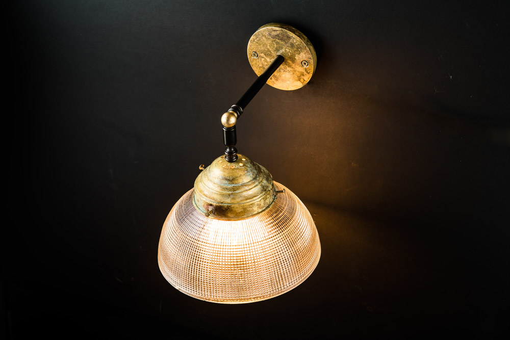 Vintage large holophane and aged brass wall light03.jpg