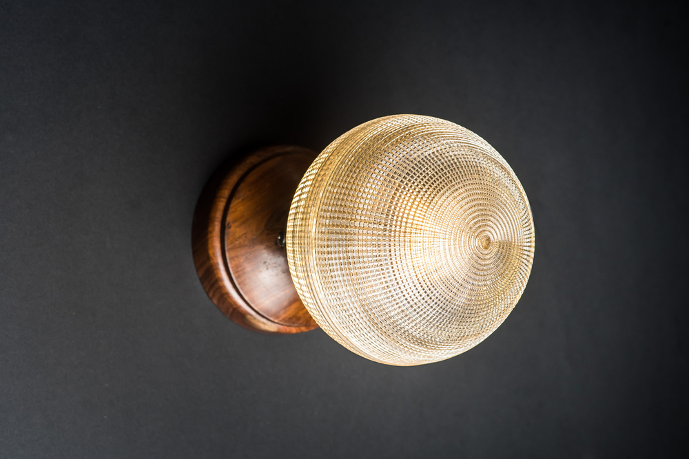Walnut and Holophane Glass Wall Light