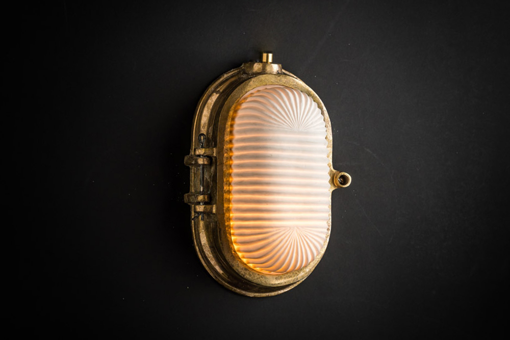 Aged Brass and Bone China Bulkhead Light