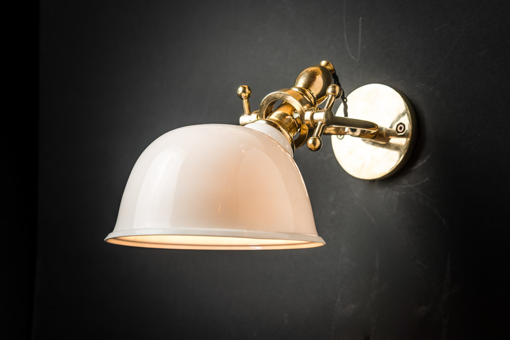 Adjustable Brass and Bone China Wall Light