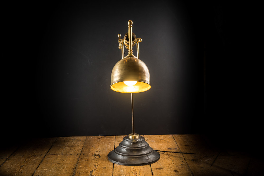 Cast Iron and Bronze Desk Lamp