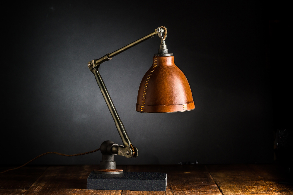 Hand Moulded Leather Desk Lamp