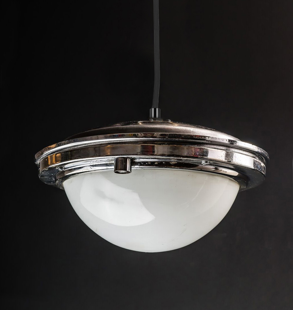 1950's Prague Tram Opaque Glass Pendant