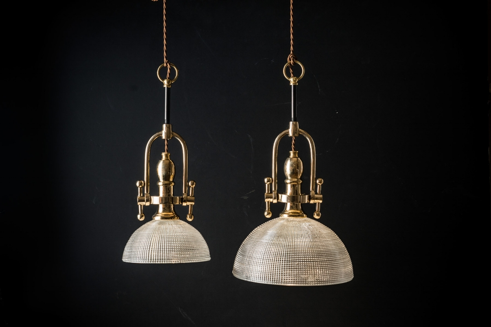 Crosscut Holophane Glass and Brass Pendant
