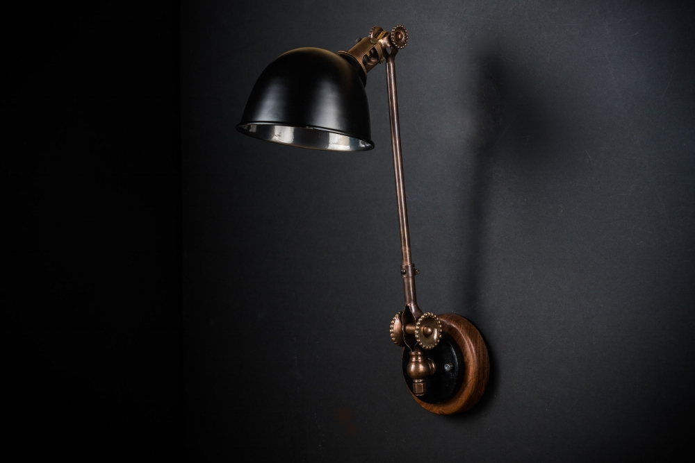 Felix Original Bronze, Black and Walnut Wall Light