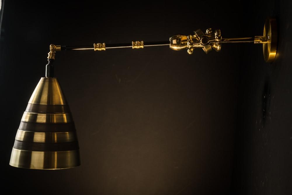 Adjustable brass and bronze 'hornet' wall light06.jpg