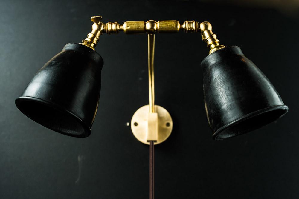 Felix Original Brass and Vulcan Black Stone Wall Light