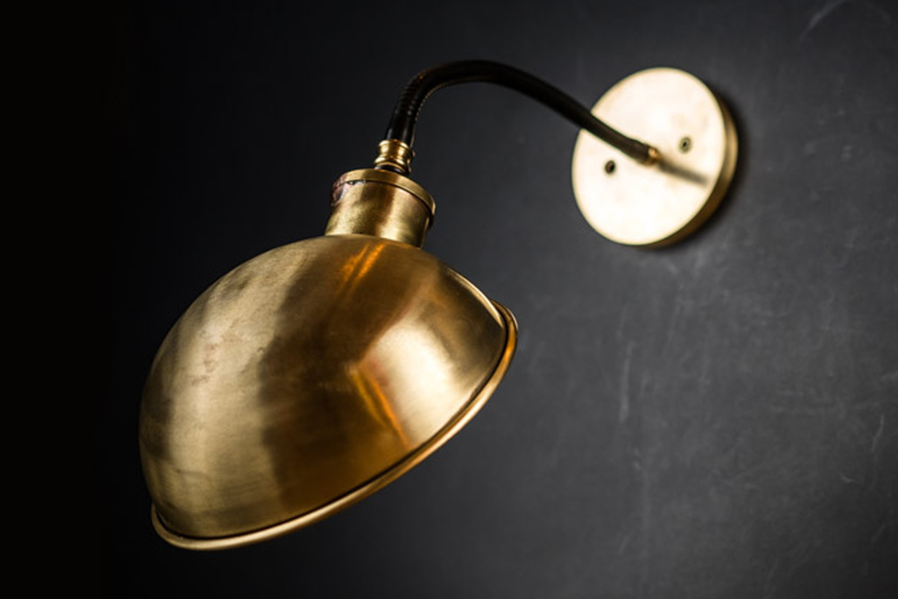 Brass Skullcap Gooseneck Wall Light