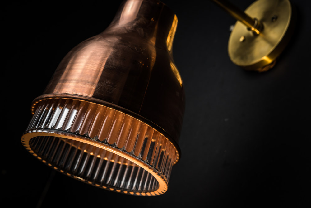 Copper, Brass and Holophane Glass Wall Light