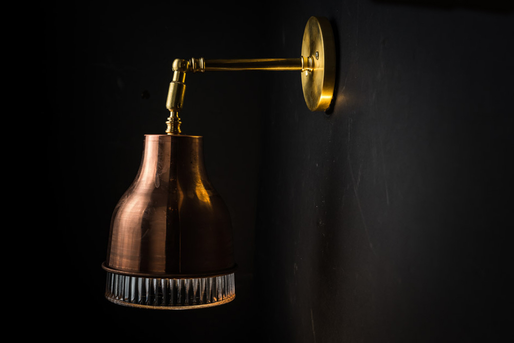 Copper, brass and holophane glass wall light 07.jpg
